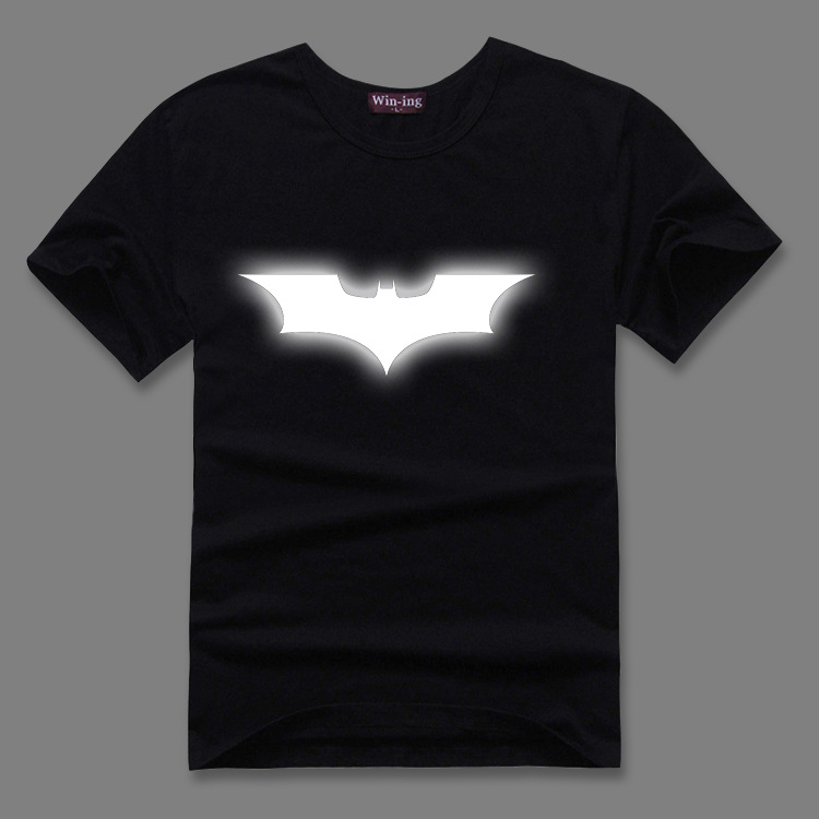 Batman wars Superman super hero Thor fluorescent reflective luminous bronzing cotton short sleeved T-shirt  cotton T shirt