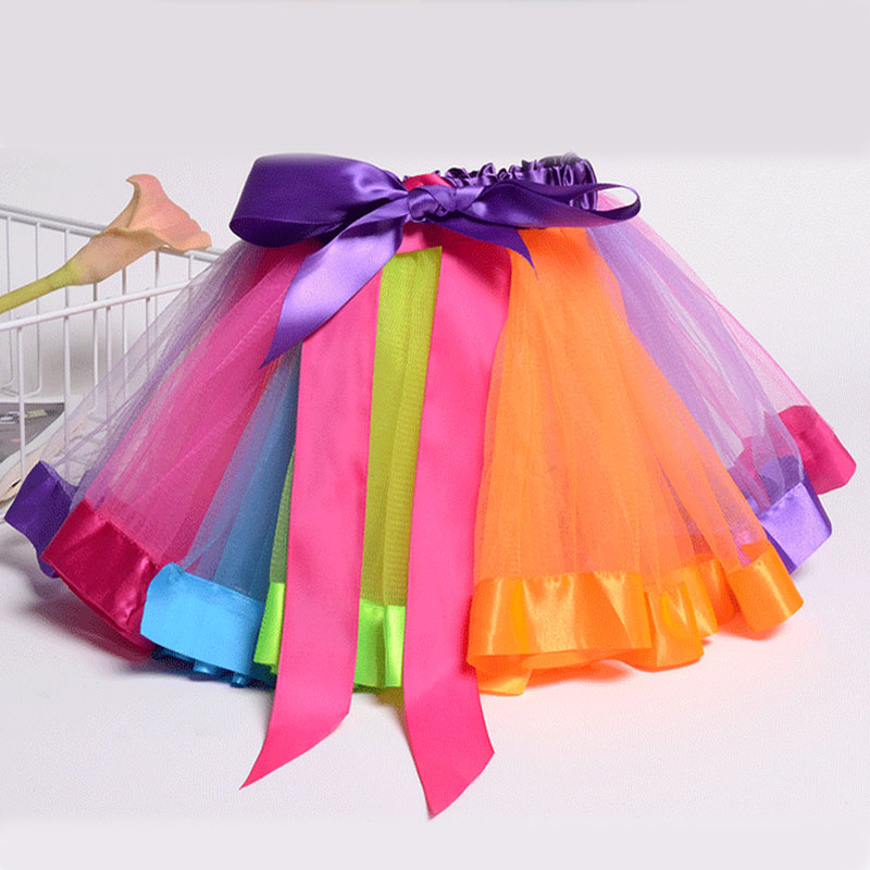 kids children mini tutu summer skirting girls birthday party newborn baby princess skirts rainbow color clothing
