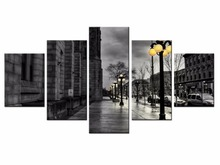 5 pieces / set of Beautiful Night lights wall art for decorating homeDecorative painting on canvas Wholesale/XC-City-60