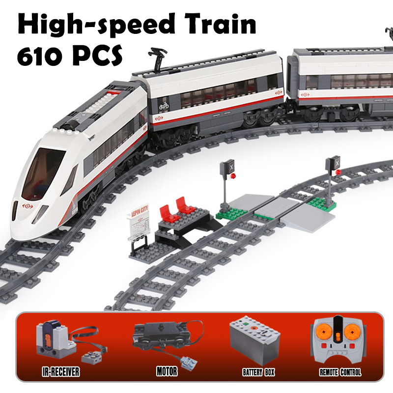 02010 City Trains High-speed Passenger Train Model Building Blocks Motors Power Function Bricks Gift Compatible With Lego 60051 lepin 02012 city deepwater exploration vessel 60095 building blocks policeman toys children compatible with lego gift kid sets