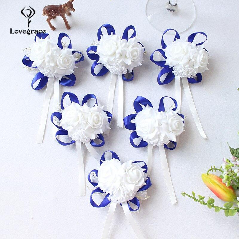 White Foam rose Wedding Wrist Corsage Hand Flowers Boutonniere bridal  (81)