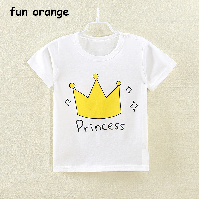 цена Fun Orange Girls Boys T-Shirts Kids Cartoon Short Sleeve Tops Tees Printed Girls Children Clothing Cotton Summer T Shirt For Boy