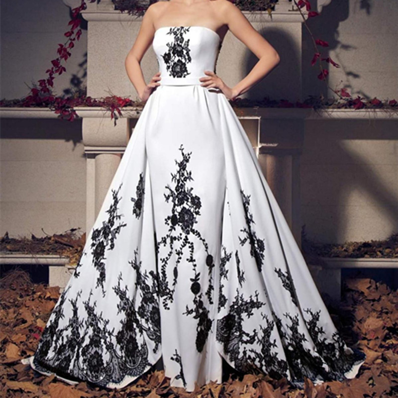 Fashion 2017 Wedding Dresses Strapless Appliques Black: Robe De Mariage 2017 White And Black Wedding Dresses
