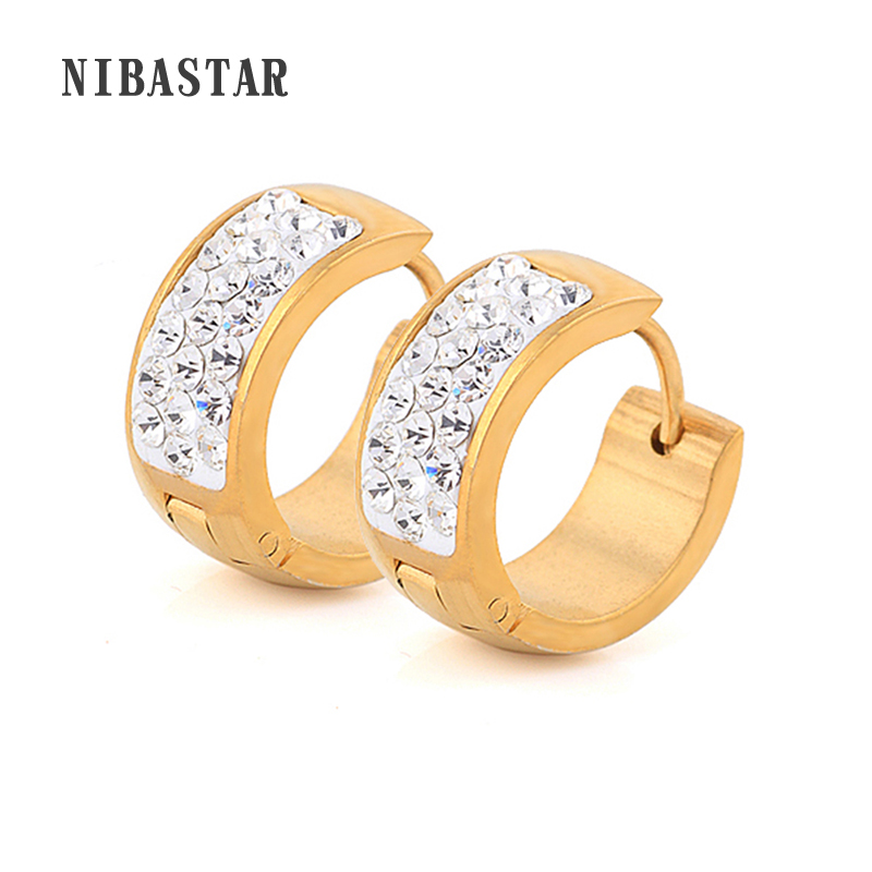 New Arrival Earring Fashion Jewelry Stainless Steel Golded Plated Crystal Jewelry Stud Earring For Women