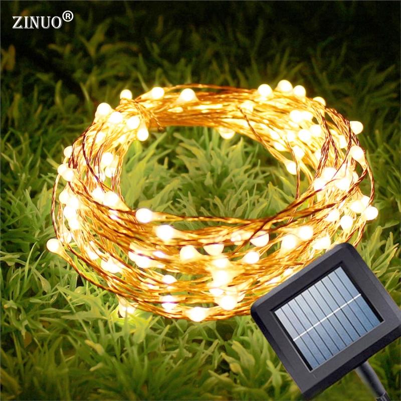 ZINUO 10M 100Leds Solar Outdoor Garland Copper Wire String Light Waterproof Fairy String For Garden Wedding Christmas Party