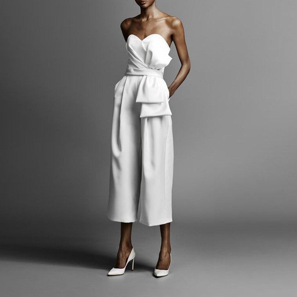 Комбинезон женский, белый, без бретелек, с открытыми плечами, с бантом, шорты без рукавов, с открытой спинкой, Комбинезоны для клубов|Комбинезоны|   | АлиЭкспресс