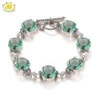 Hutang камень украшения Твердые стерлингового серебра 925 натуральный зеленый флюорит топаз Винтаж браслет Изысканные Мода для Для женщин пода