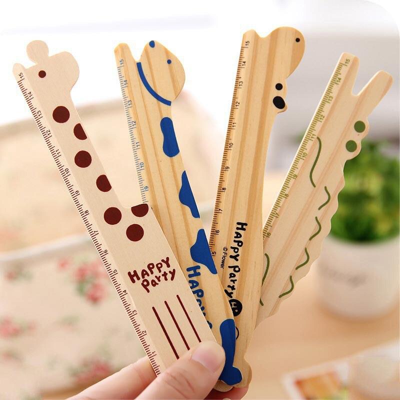 Cute Kawaii Cartoon Animal Giraffe Dog Wooden Ruler For School Supplies Painting Drawing Korean Stationery Student Papelaria