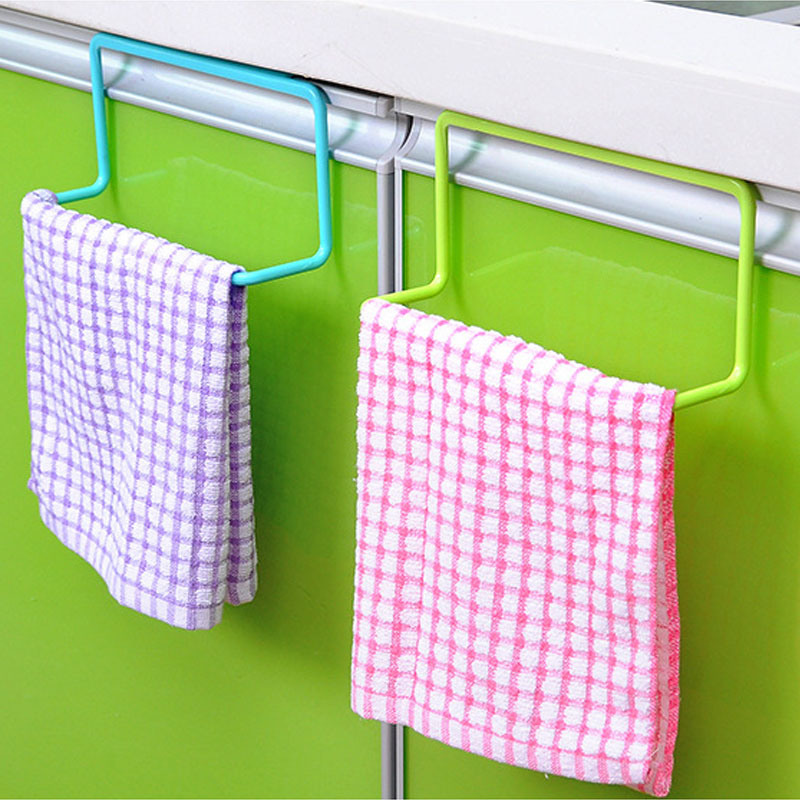 Multifunctional Plastic Bathroom Kitchen  Bar Cupboard Door Back Single Lever Shelf Towel Holder Rack Towels Organizer