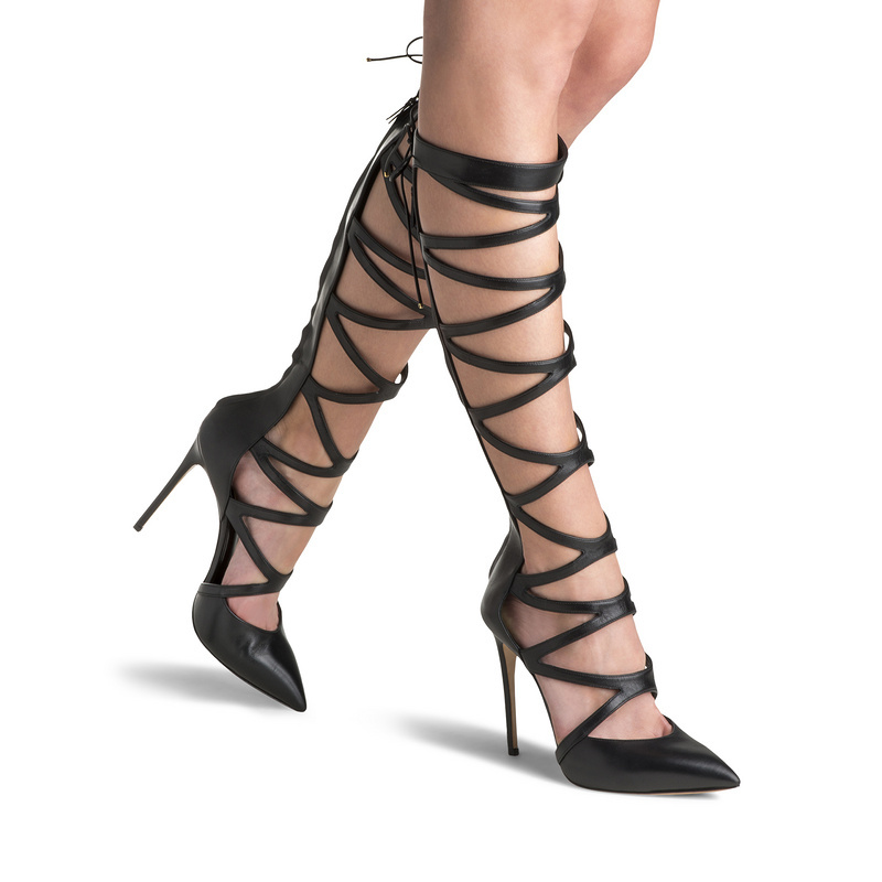Hot selling solid color multi strap crisscross back zipper pointed toe knee high stiletto heel sandal boots cut-outs long boots v cut solid romper with tied strap