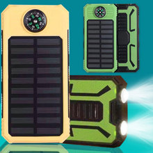 20000mAh wodoodporny kompas bateria słoneczna przenośna ładowarka podwójne wyjście USB zewnętrzna bateria o dużej pojemności mobilna energia słoneczna tanie tanio centechia Panel słoneczny Monokryształów krzemu DZ00909-01 145*75*20mm with outdoor camping light and compass Polymer lithium ion battery