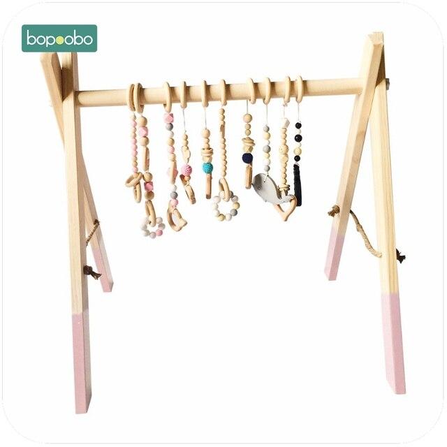 Bopoobo クラシック木製ベビージムジム活動ジムのおもちゃアクセサリーなしモンテッソーリガラガラ保育園おしゃぶり棚 portico