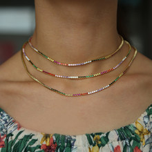 High quality sparking rainbow tennis chain chocker necklace with AAA+ CZ fashion personality women collar jewellery bijoux femme(China)