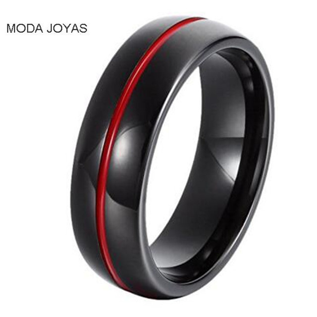 products women jewelry red my steel engagement soul line ring s men stainless lovers spirit rings lover for grande firefighter couple