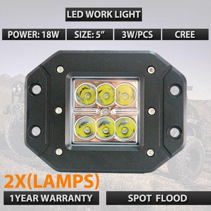 2x5INCH 18W Square Flush Mount Flood Spot LED Work Light Bumper OffRoad 4wd led car headlights SUV UTE
