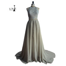 High Neck Lace Abendkleider Real Sample Chiffon Silber Backless Abschlussball-partei Graduation Kleid