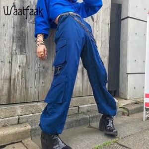 Waatfaak Botão Bolso Calças Cargo Mulheres Azul Alta Cintura Solta Moda Streetwear Calças Corda Hem Algodão Tecido ete 2018