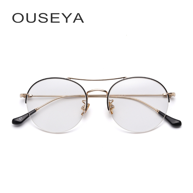c88460802bb Metal Women Gold Glasses Frame Round Oversized Luxury Vintage Retro Aviator  Clear Lens Half Frame For