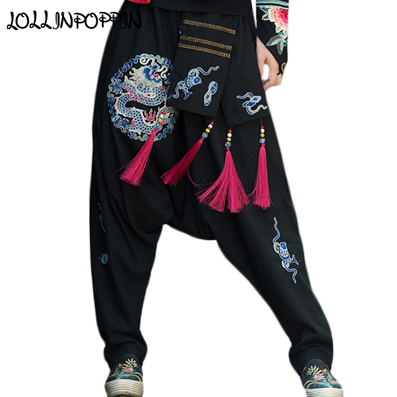 Ethnic Dragon Embroidery Women Cotton & Linen Harem Pants With Tasselled Sash Ladies Loose Drop Crotch Pants Elastic Waist