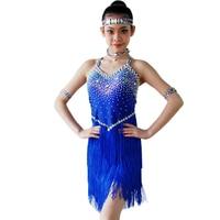 Латинская юбка для танцев для девочек 2018 Новые Детские Румба Самба конкурс Одежда для танцев высокое качество кисточкой Латинской платье
