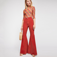 2018 Autumn Winter Corduroy Pants Flared Leg Raw Hem High Waist Pants Women Stretch Slim Trousers Solid bell bottom Long Pant