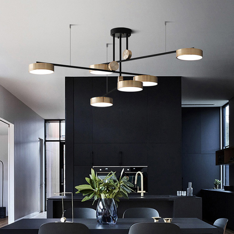 Modern Dining Chandeliers LED Light Living Room Restaurant Atmospheric  Hanging Lamp Nordic Bedroom Rotation Fixtures Chandeliers