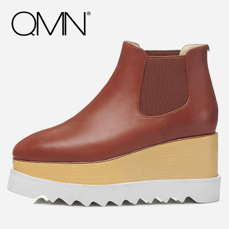 QMN women genuine leather ankle boots for Women Square Toe Platform Chelsea Boots Winter Shoes Woman Wedges Boots Botas 34-42 qmn women crystal trimmed brushed embossed leather brogue shoes women square toe oxfords shoes woman genuine leather flats 34 43