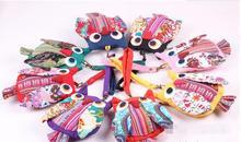 10pcs/lot Kids Bag Owl Children Purse canvas zipper casual coin wallet cartoon owl shape 12*17cm