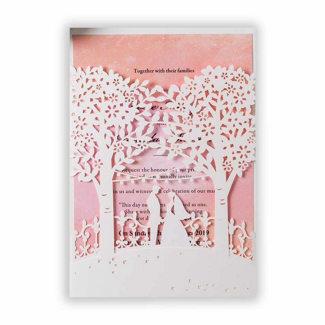 Us 1 09 Printable Wedding Invitations Kit With Envelope White Laser Cut Bride And Groom Tree Pink Insert Invites Love You First In Cards