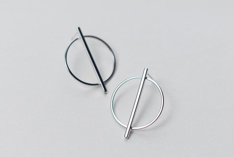 1pair Real. 925 Sterling Silver jewelry Geometric Circle Bar Dangle Earrings Women's Fashion GTLE1537