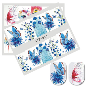 Image 5 - 1pcs Stickers For Nails Water Transfer Sliders Decor Flowers Colorful Image Nail Art DecalsFoil Wraps Manicure TRSTZ608 637 1