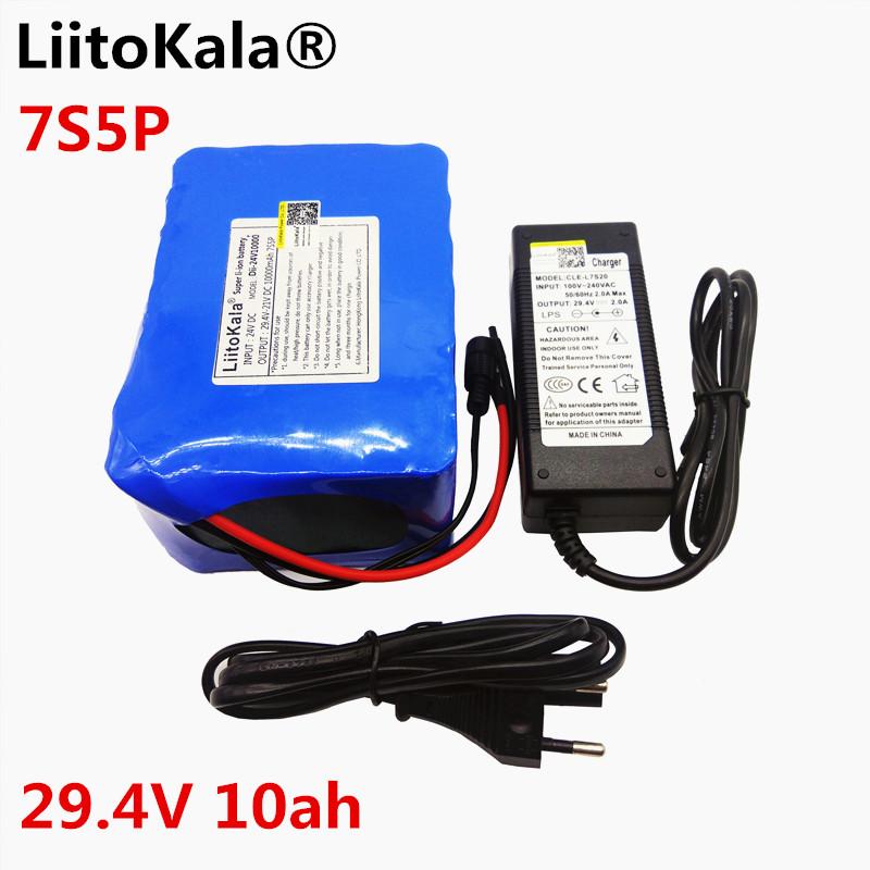 liitokala 24V 10ah 7S5P battery 15A BMS 250W 29.4V 10000mAh battery for wheelchair electric motor