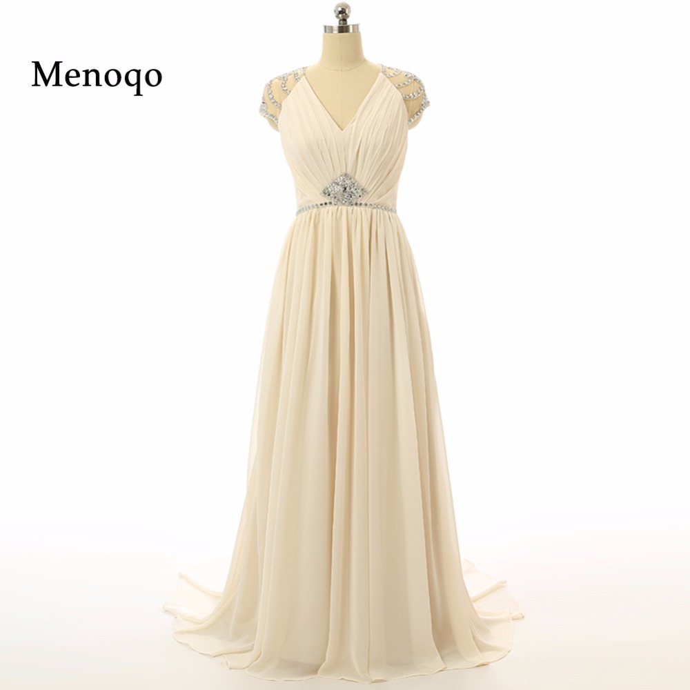 Perfect beauty a line v neck court train chiffon beaded sheer back prom dresses long elegant real sample sexy evening gowns 2019
