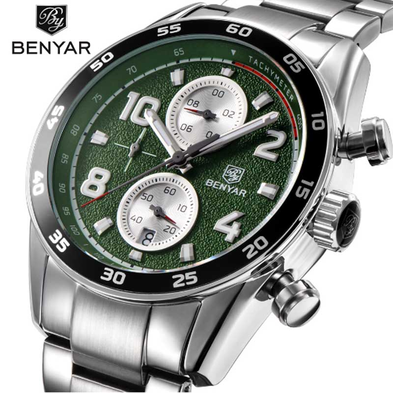 BENYAR Fashion Sport Chronograph Watches Full Steel Band Waterproof 30M Luxury Brand Quartz Watch Green Saat dropshippingBENYAR Fashion Sport Chronograph Watches Full Steel Band Waterproof 30M Luxury Brand Quartz Watch Green Saat dropshipping