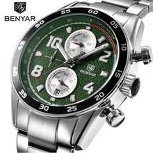купить BENYAR Fashion Sport Chronograph Watches Full Steel Band Waterproof 30M Luxury Brand Quartz Watch Green Saat dropshipping по цене 2151.05 рублей