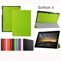 "Сверхтонкий фолио стенд Tri анти-кратным кастер сальто PU кожаный чехол для Microsoft Surface 3 Surface3 окна RT3 10.8 "" планшет"