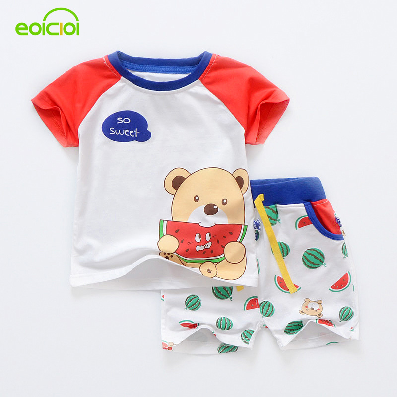 summer kids clothing sets baby boys girls cartoon bear cotton short sleeve T-shirt+pants outfit sport suit children clothes set 2015 new arrive super league christmas outfit pajamas for boys kids children suit st 004