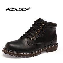 Pooloop Кружева до Для мужчин кожаные сапоги Водонепроницаемый Модные ботинки Martin стильный Повседневное Для мужчин Осенняя обувь Повседневное работы ковбойские ботинки Dr. bota