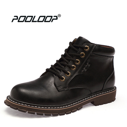 POOLOOP Lace Up Men Leather Boots Waterproof Fashion Martin Boots Stylish Casual Men Fall Shoes Casual Work Cowboy Boots Dr.Bota