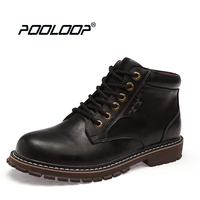 POOLOOP Lace Up Men Leather Boots Waterproof Fashion Martin Boots Stylish Casual Men Fall Shoes Casual