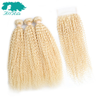 Allrun Pre-Màu 100% Tóc Người Dệt 2/3 Bundels Với 1 Cái 4*4 Ren Đóng Cửa 613 # malaysia Jerry Curly Hair Top Bán