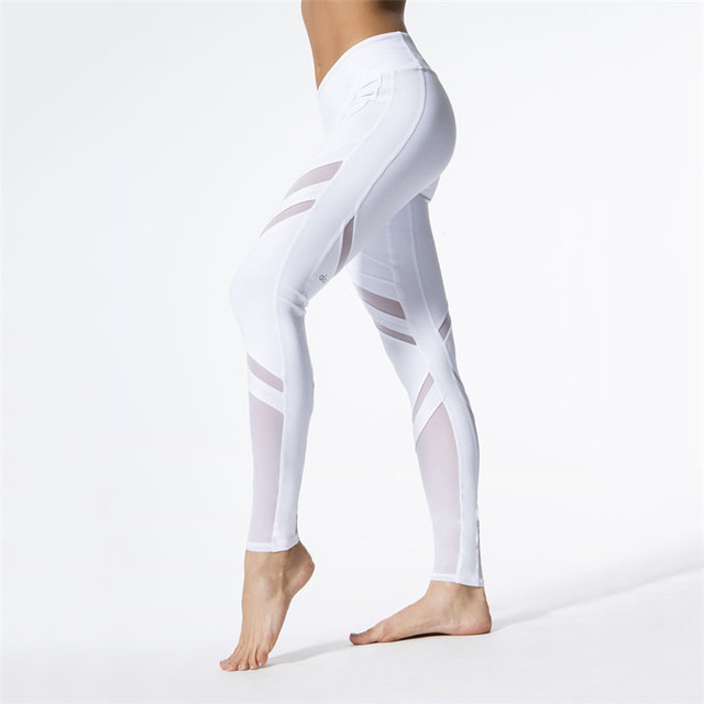 f5cab90ae4 Women Yoga Pants White Sport Leggings Elastic Mesh Patchwork Gym Fitness Running  Tights Sportswear Trousers Plus Size