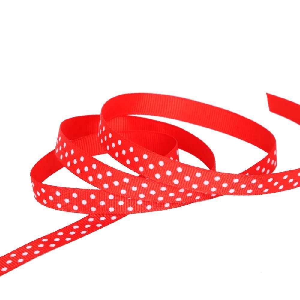 3/8 ''10mm Ripsband Druck Polka Dot Haar Bogen Party Weihnachten Hochzeit Dekoration DIY Nähen Stoff 5yards/lot