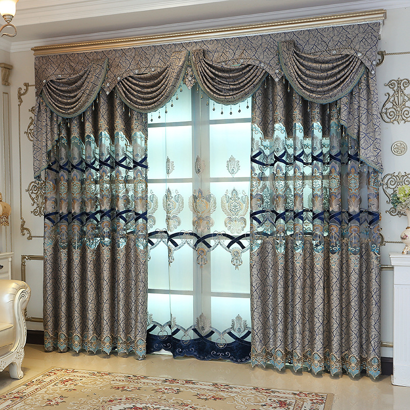 New High Quality Curtains For Living Room Embroidered Luxury Window Curtains For Bedroom Tulle Curtains Valance Drapes