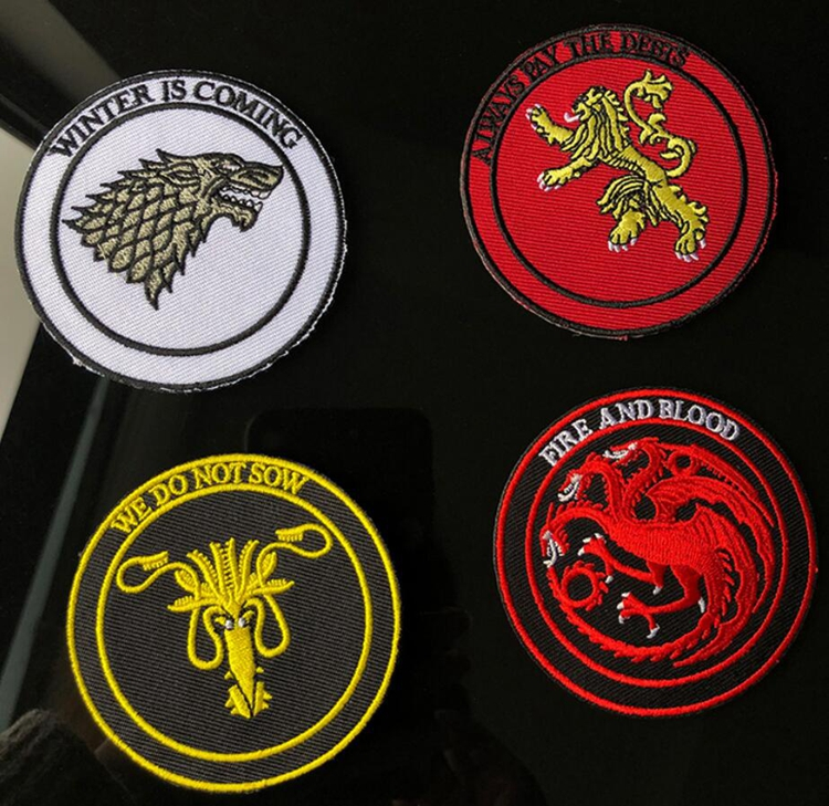 Embroidered House Stark Targaryen Dragons Sew on Iron on Patch Game Of Thrones Clothes Stickers Toys