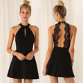 2017 New Women Fashion Backless Sexy Dress Lace Sleeveless Dresses Slim Casual Mini Dress H9