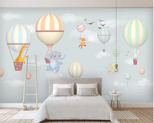 Купить с кэшбэком Beibehang Custom children's room wall 3d wallpaper hot air balloon elephant bunny hand-painted photo 3d wallpaper mural tapeta