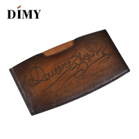 DIMY Luxury Famous Italian Brand Leather Money Clips Hand Patina Cheque Holder Credit VISA Card Holder Cash Wallet for Men