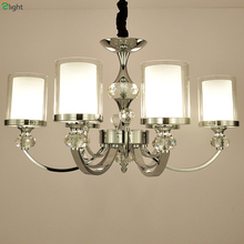 Modern Lustre Crystal Led Chandeliers Lighting Chrome Metal Dining Room Led Pendant Chandelier Living Room Hanging Light Fixture