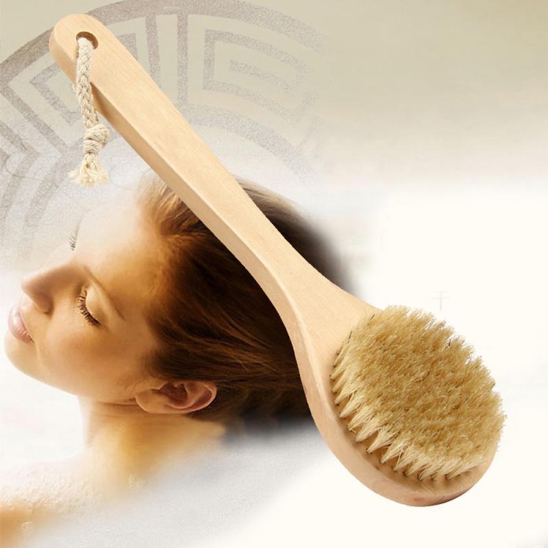 Hot Sale Round Shape Natural Boar Bristle Wooden Brush Middle Long Handle Wooden Detox Wooden Handle Body Brush Skin Brush